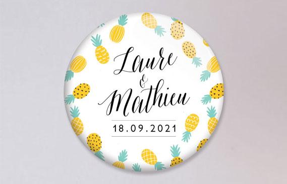 badges mariage Ananas