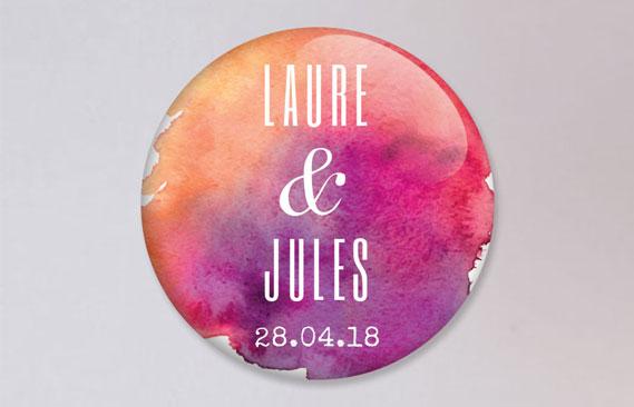 badges mariage Aquarelle