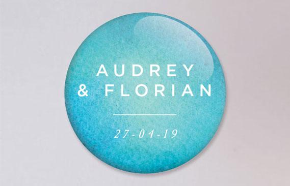 badges mariage Aquatique