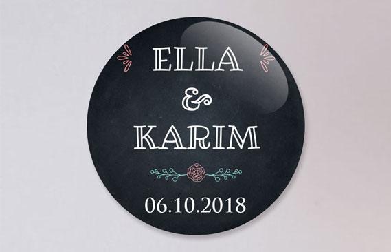 badges mariage Ardoise