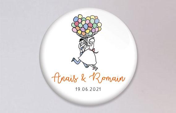 badges mariage Ballons