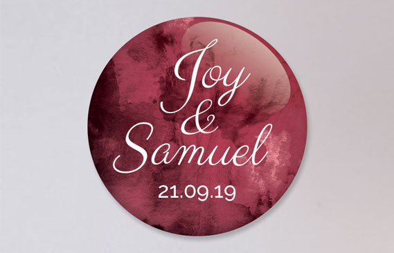 badges mariage Burgundy