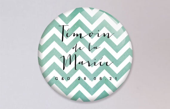 badges mariage Chevrons - bleu