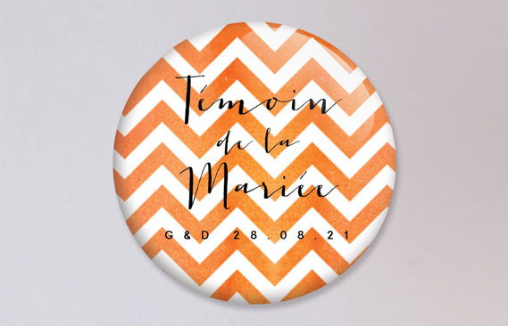 badges mariage Chevrons - orange