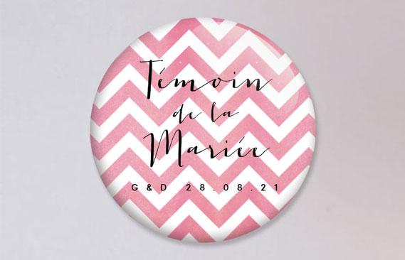 badges mariage Chevrons - rose