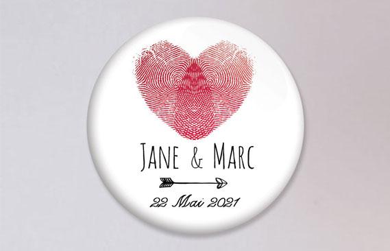badges mariage Coeur