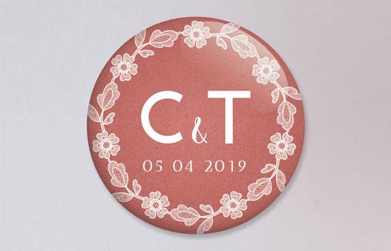 badges mariage Dentelle