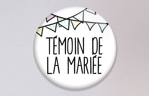 badges mariage Fanions