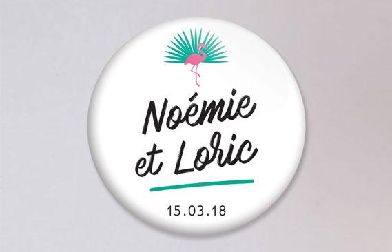 badges mariage Flamants roses