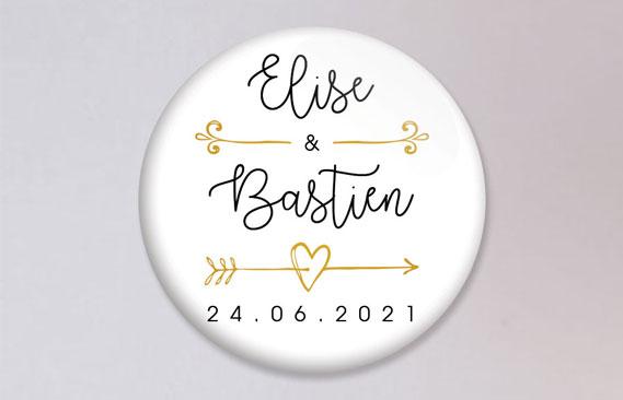 badges mariage Flèche