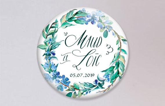 badges mariage Fleuri bleu