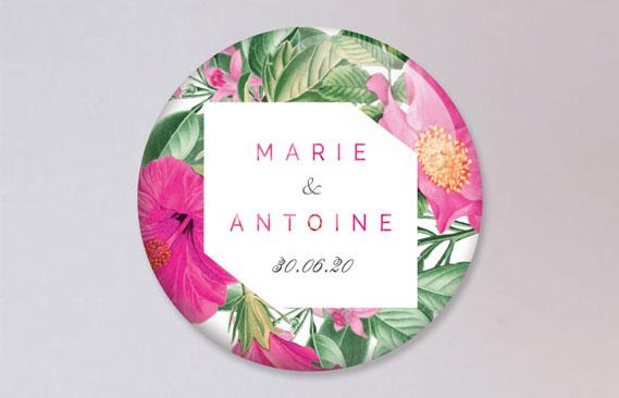 badges mariage Floral