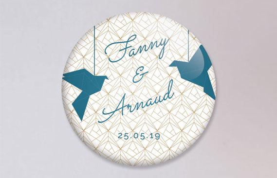 badges mariage Origami