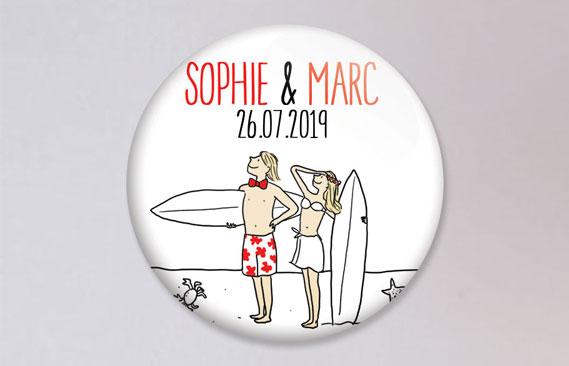 badges mariage Surf