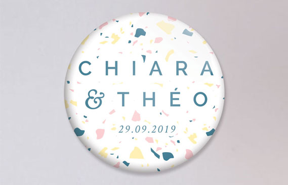 badges mariage Terrazzo