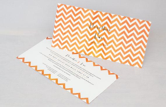 faire-part mariage Chevrons - orange