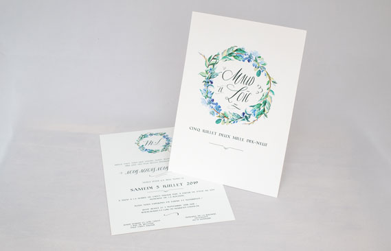 faire-part mariage Fleuri bleu