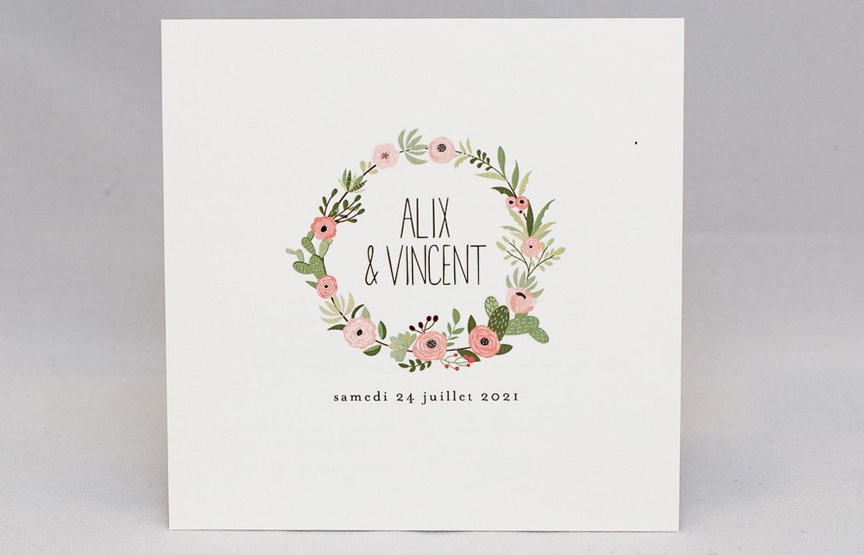 Favori Faire-part mariage Fleuri rose personnalisé GI94