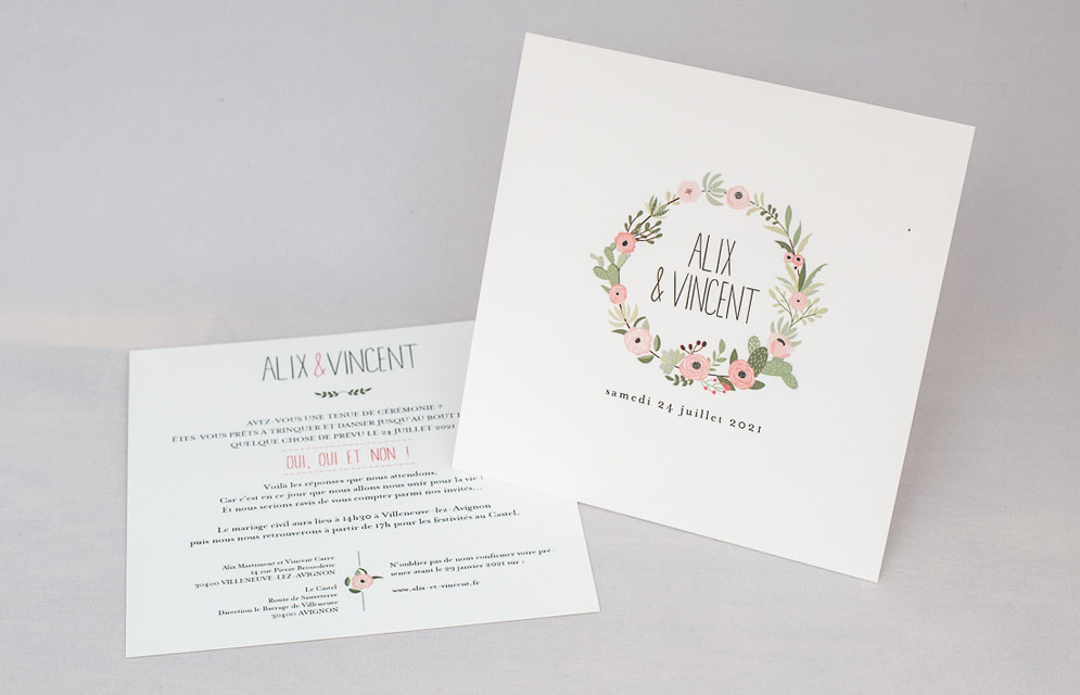 Fabuleux Faire-part mariage Fleuri rose personnalisé JA64