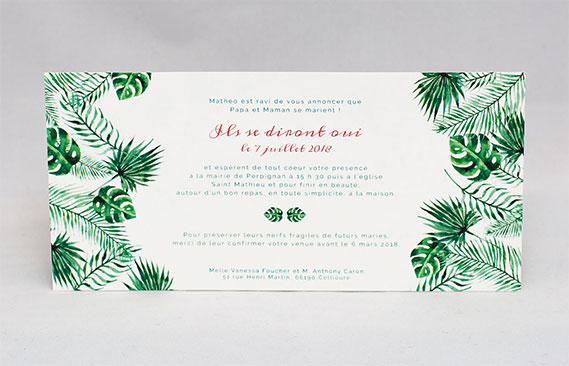 faire-part mariage Jungle