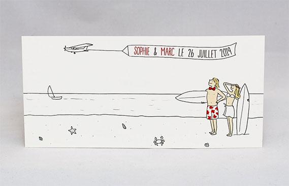 faire-part mariage Surf