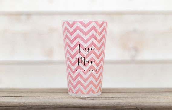 gobelets mariage Chevrons - rose