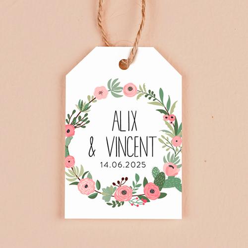gobelet de mariage Fleuri rose à personnaliser