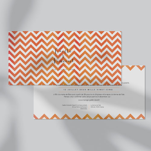 gobelet de mariage Chevrons - orange à personnaliser