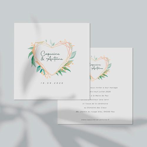 gobelet de mariage Coeur géométrique à personnaliser