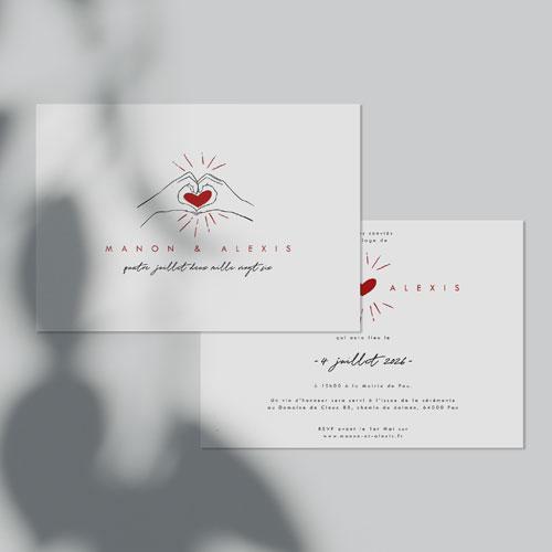 gobelet de mariage Coeur rouge à personnaliser