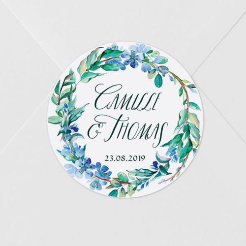 gobelet de mariage Fleuri bleu à personnaliser