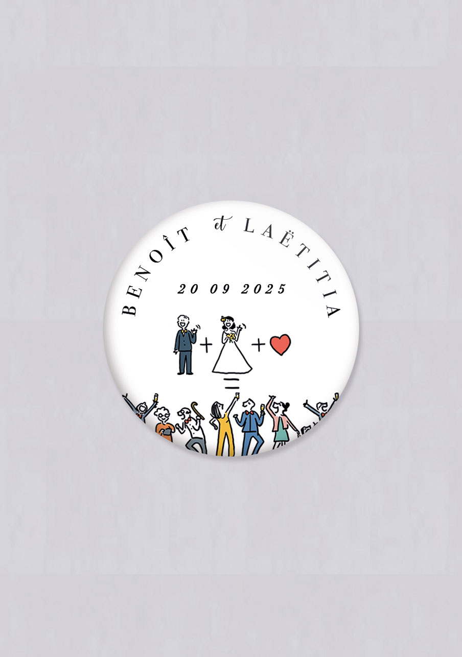 badge mariage personnalisé Addition