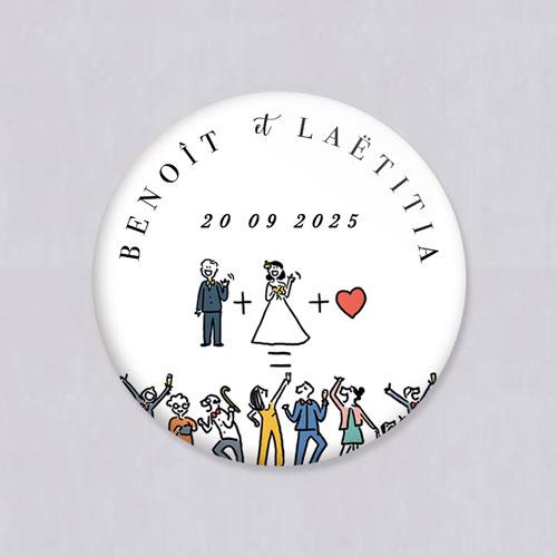 Badge de mariage addition à personnaliser