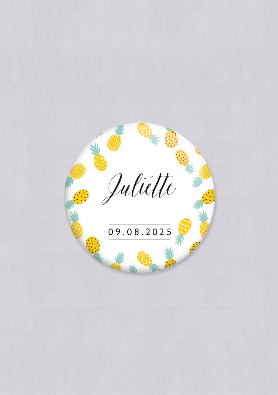 badge mariage personnalisé Ananas