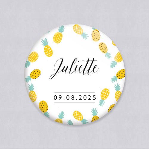 Badge de mariage ananas à personnaliser