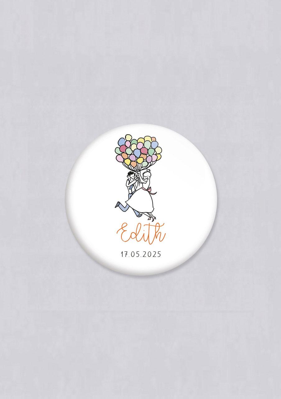 badge mariage personnalisé Ballons