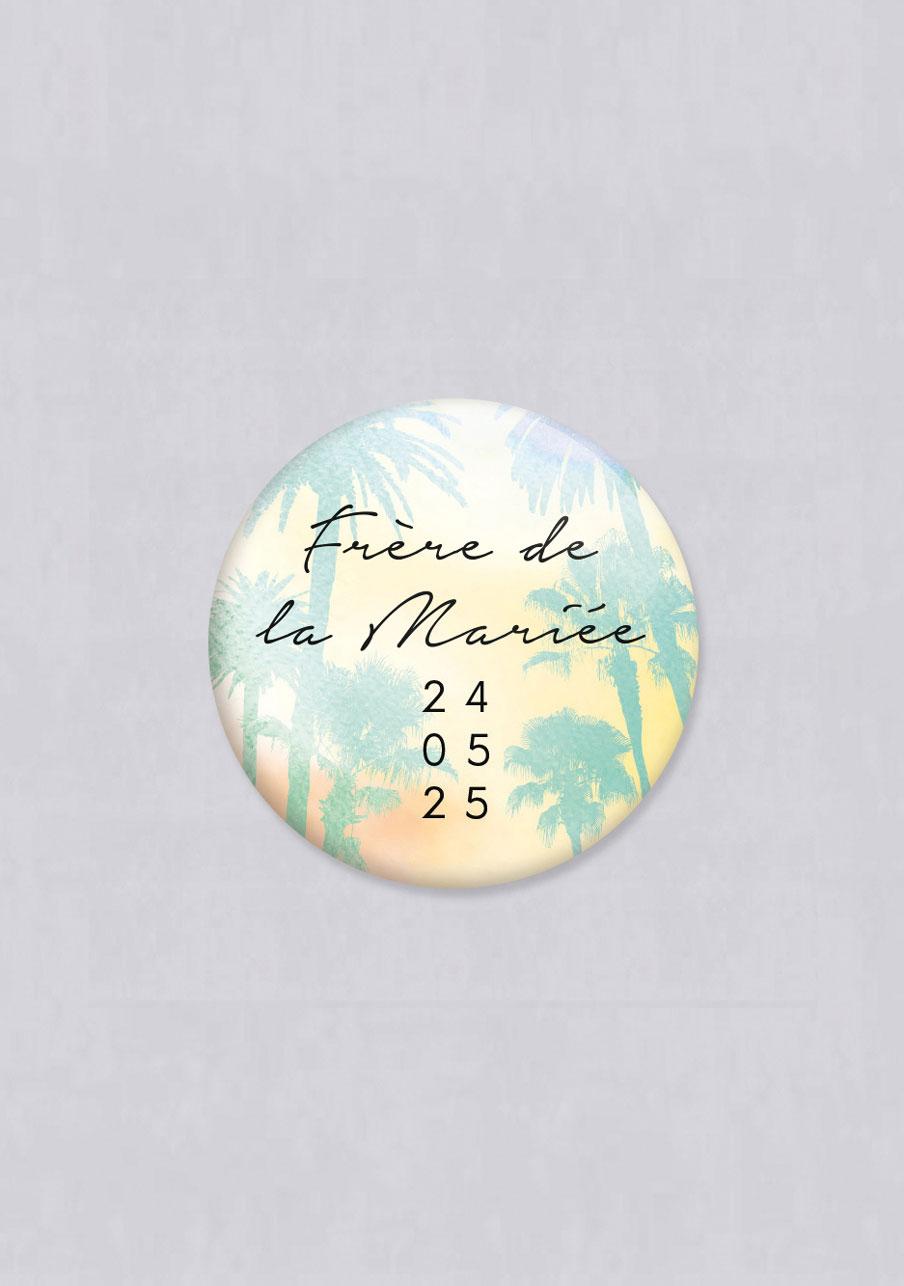 badge mariage personnalisé Beach
