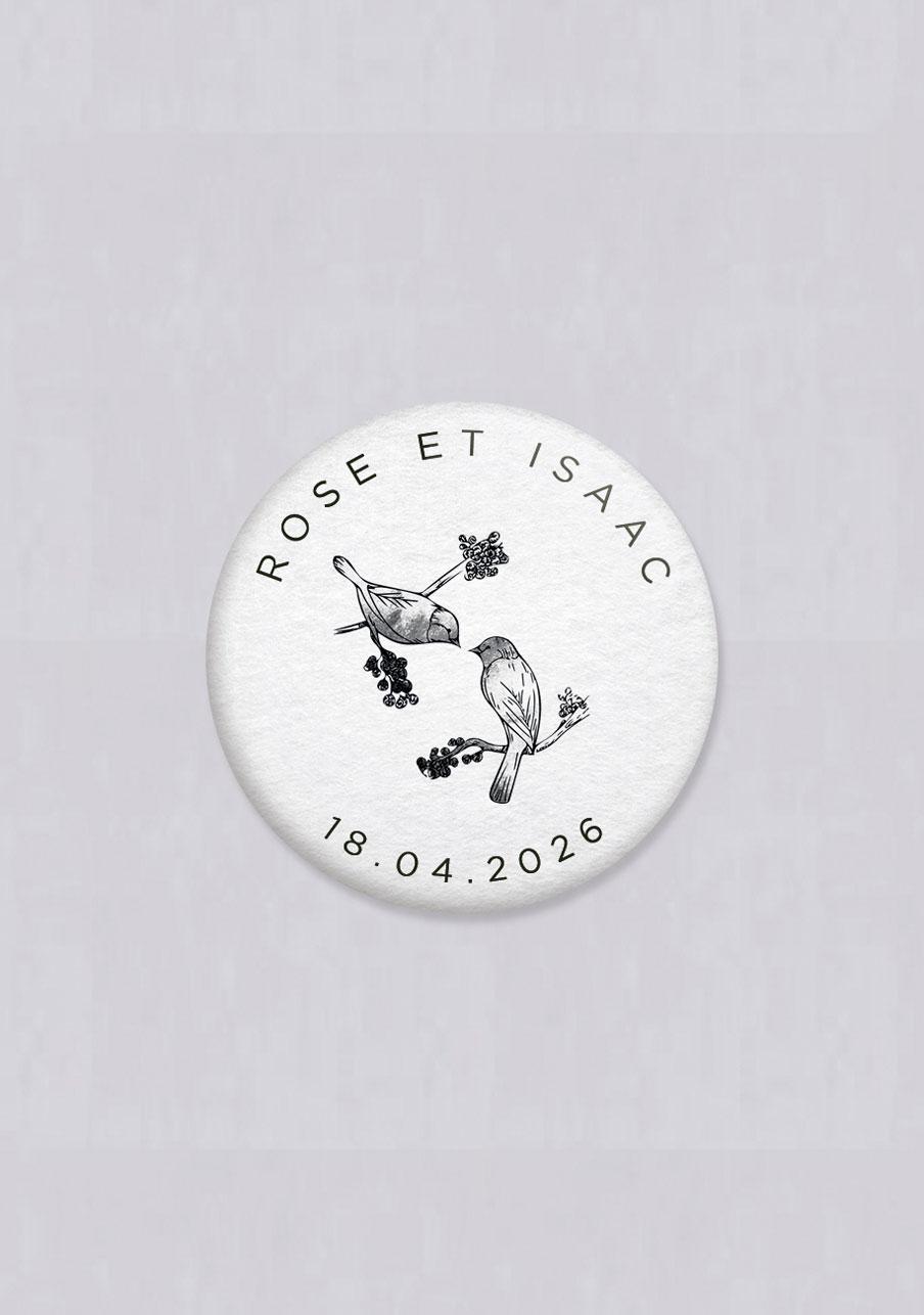 badge mariage personnalisé Birds
