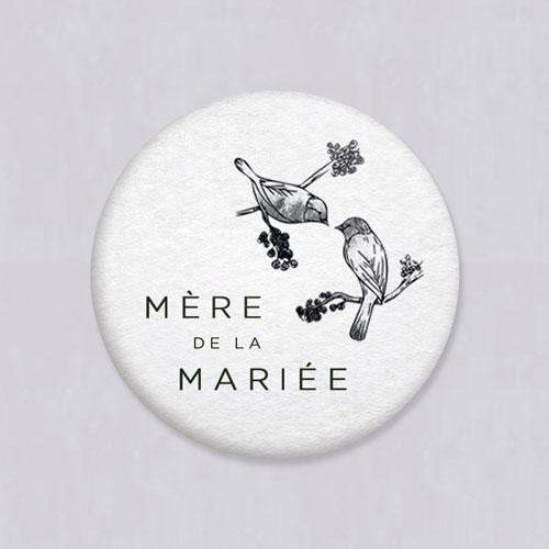 Badge de mariage birds à personnaliser
