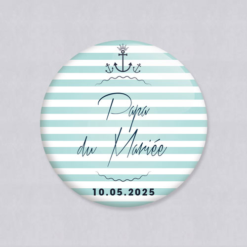Badge de mariage bord-de-mer à personnaliser