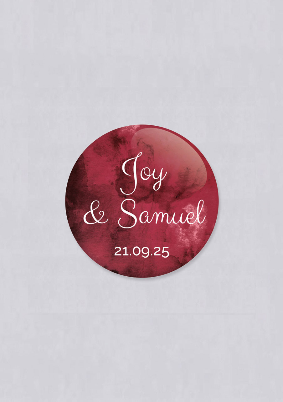 badge mariage personnalisé Burgundy
