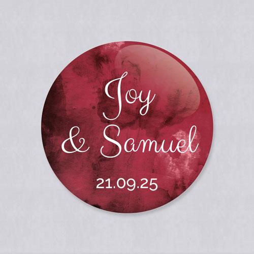 Badge de mariage burgundy à personnaliser