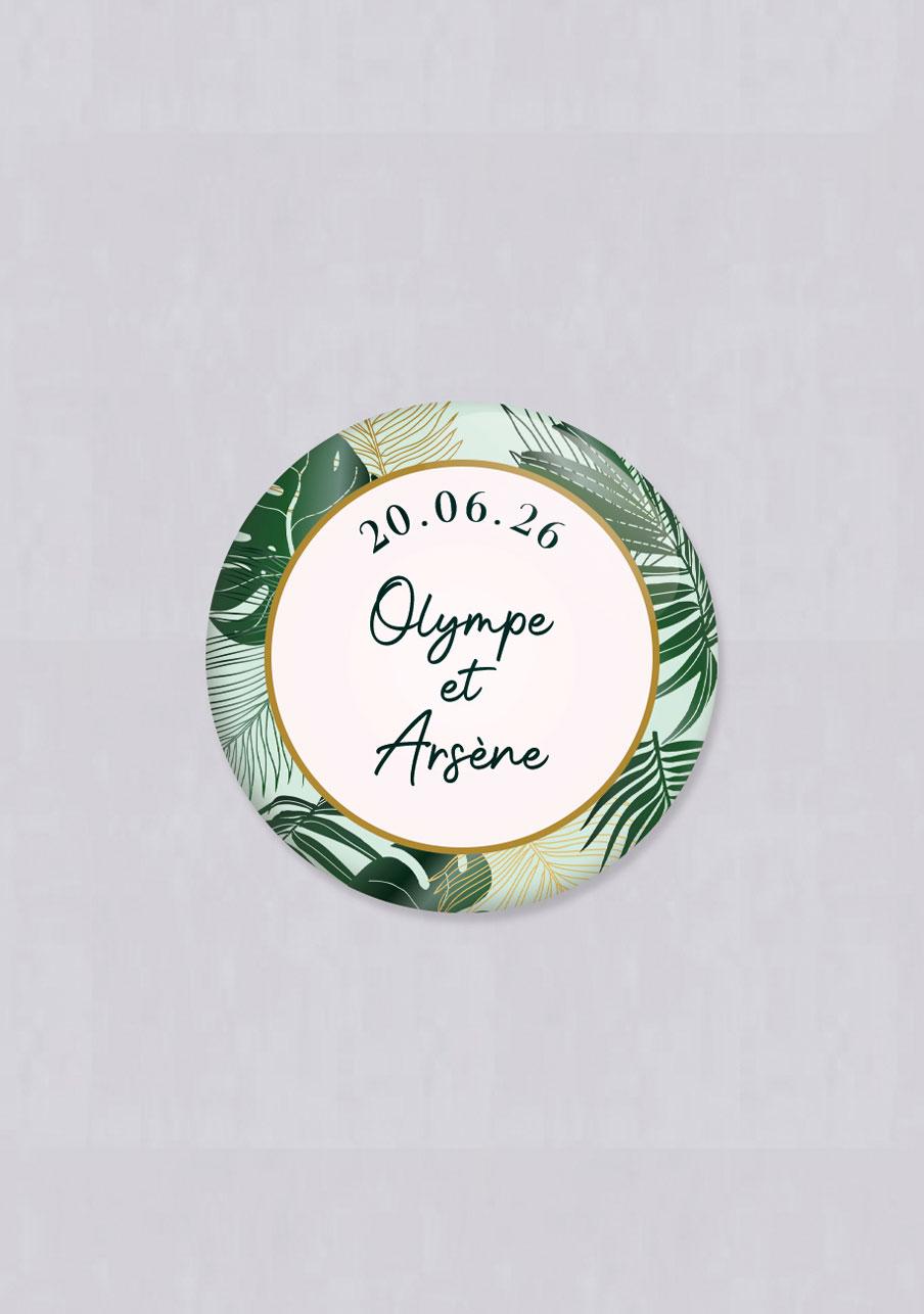badge mariage personnalisé Cadre tropical