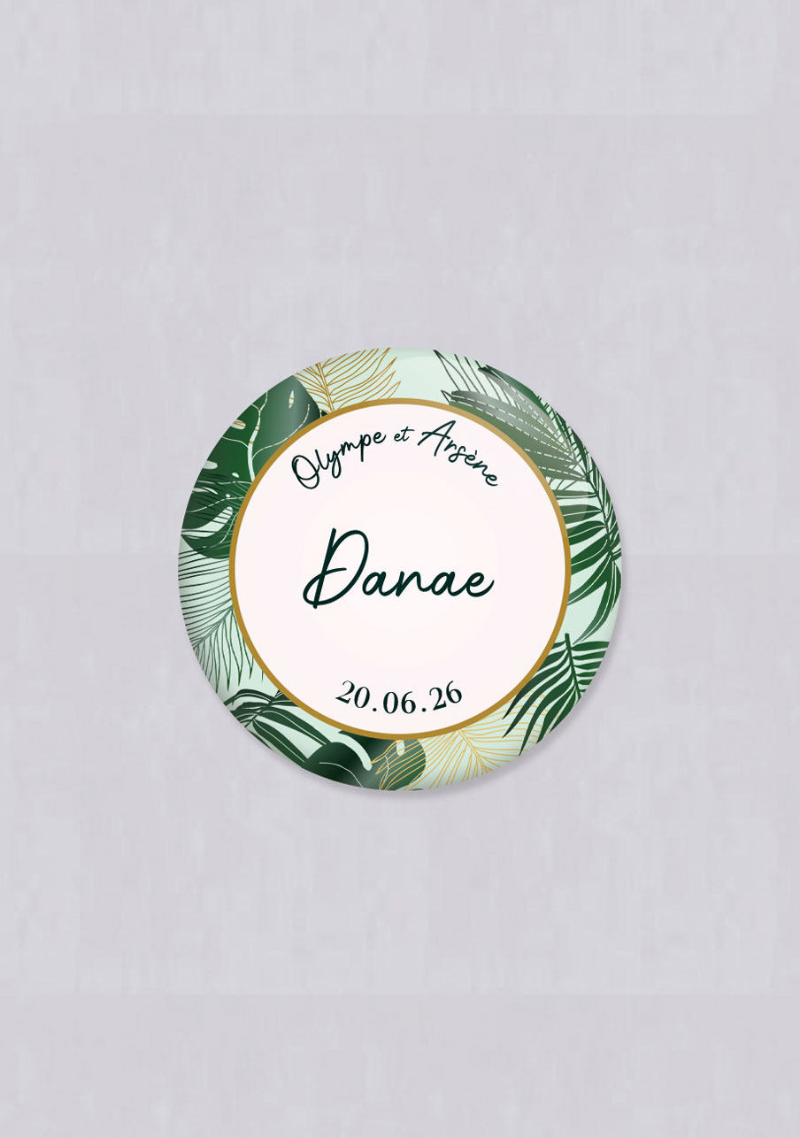 badge mariage Cadre tropical