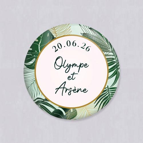 Badge de mariage cadre-tropical à personnaliser
