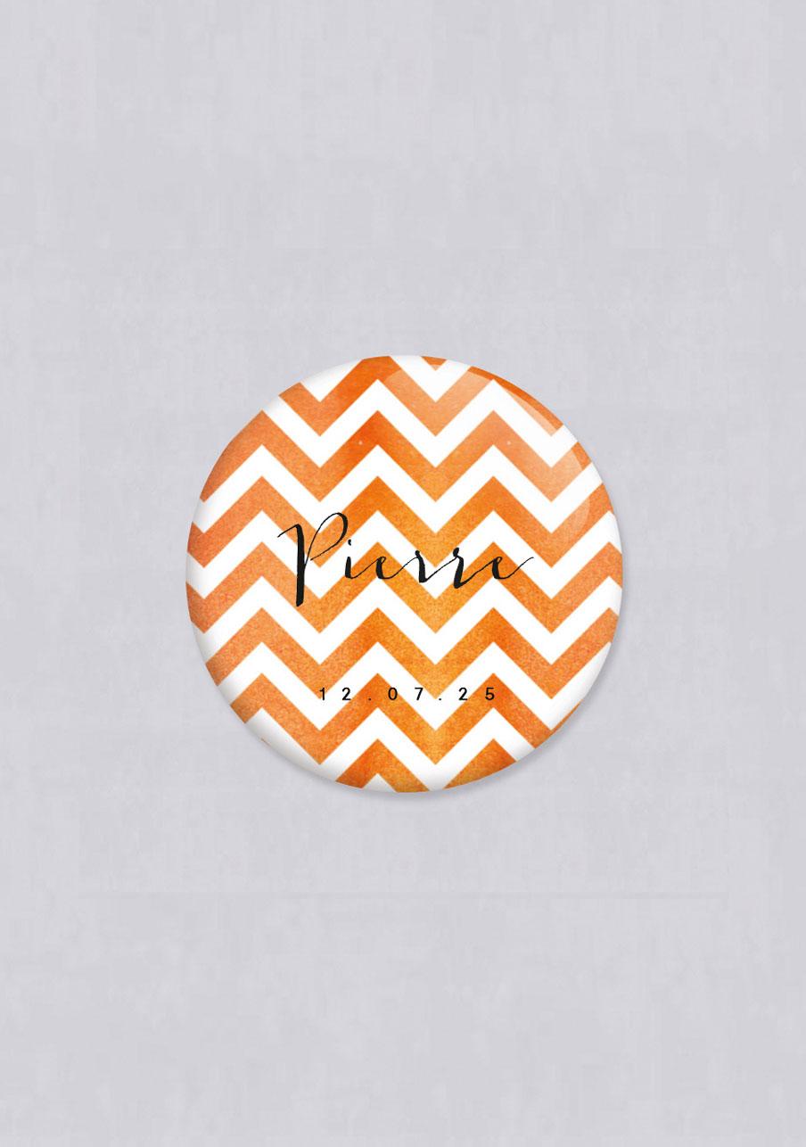 badge mariage personnalisé Chevrons - orange