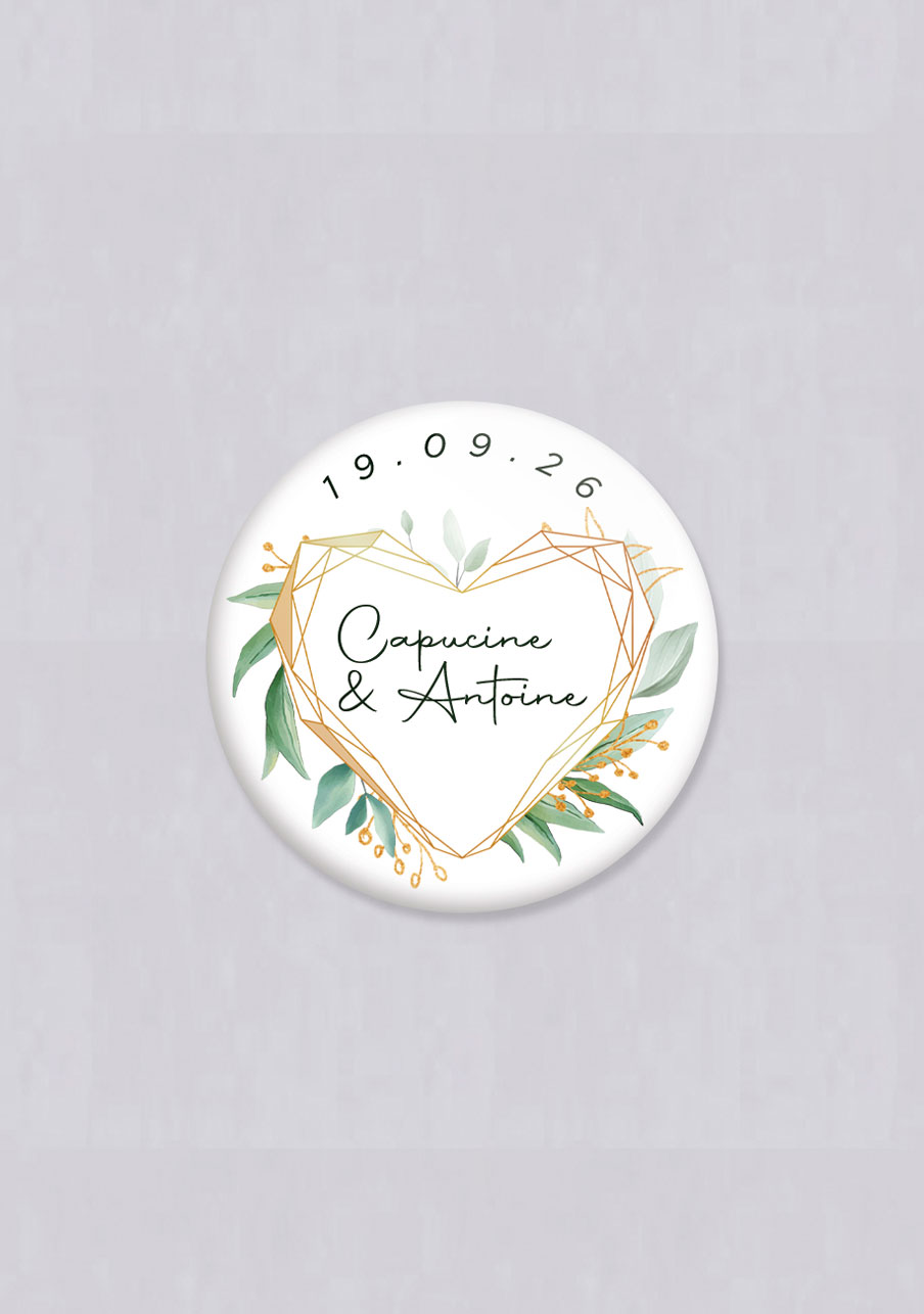 badge mariage personnalisé Coeur géométrique