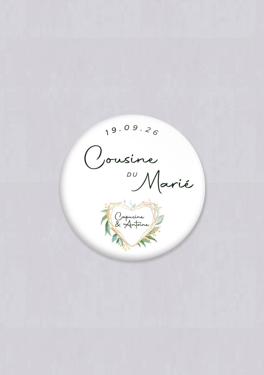badge mariage Coeur géométrique