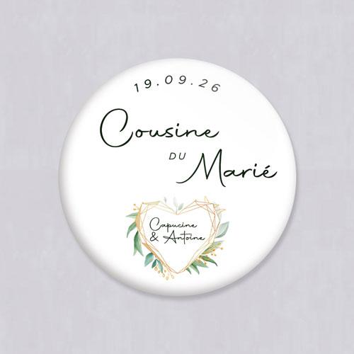 Badge de mariage coeur-geometrique à personnaliser