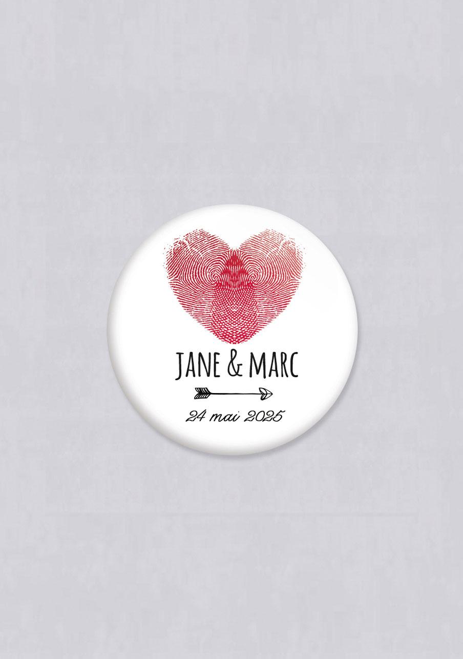 badge mariage personnalisé Coeur
